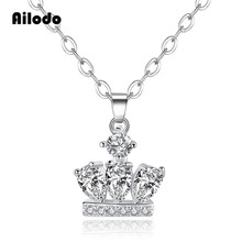 Ailodo Fashion Women Crown Pendant Necklace Femme Bijoux Luxury CZ Gold Silver Color Long Chain Statement Jewelry LD124