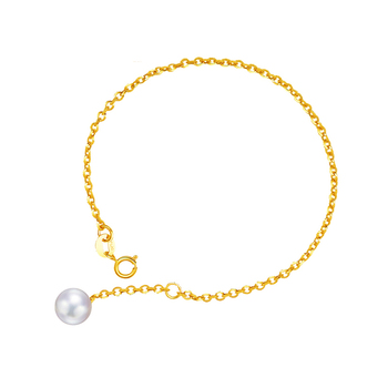 Pure AU750 Yellow gold Pearl Link Bracelet Lady's Bracelet