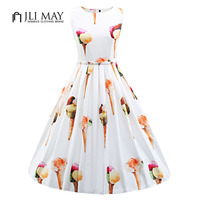 JLI MAY 50s Vintage summer Dress Silk print ice cream cute O Neck Ball Gown Sleeveless white plus size women elegant dresses