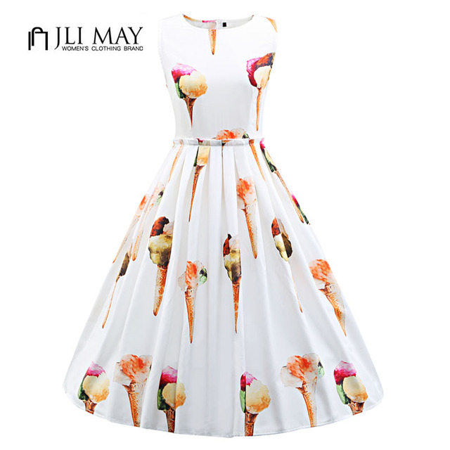 28cd09a54da JLI MAY 50s Vintage summer Dress Silk print ice cream cute O-Neck Ball Gown  Sleeveless white plus size women elegant dresses