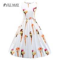 JLI MAY 50s Vintage Summer Dress Silk Print Ice Cream Cute O Neck Ball Gown Sleeveless