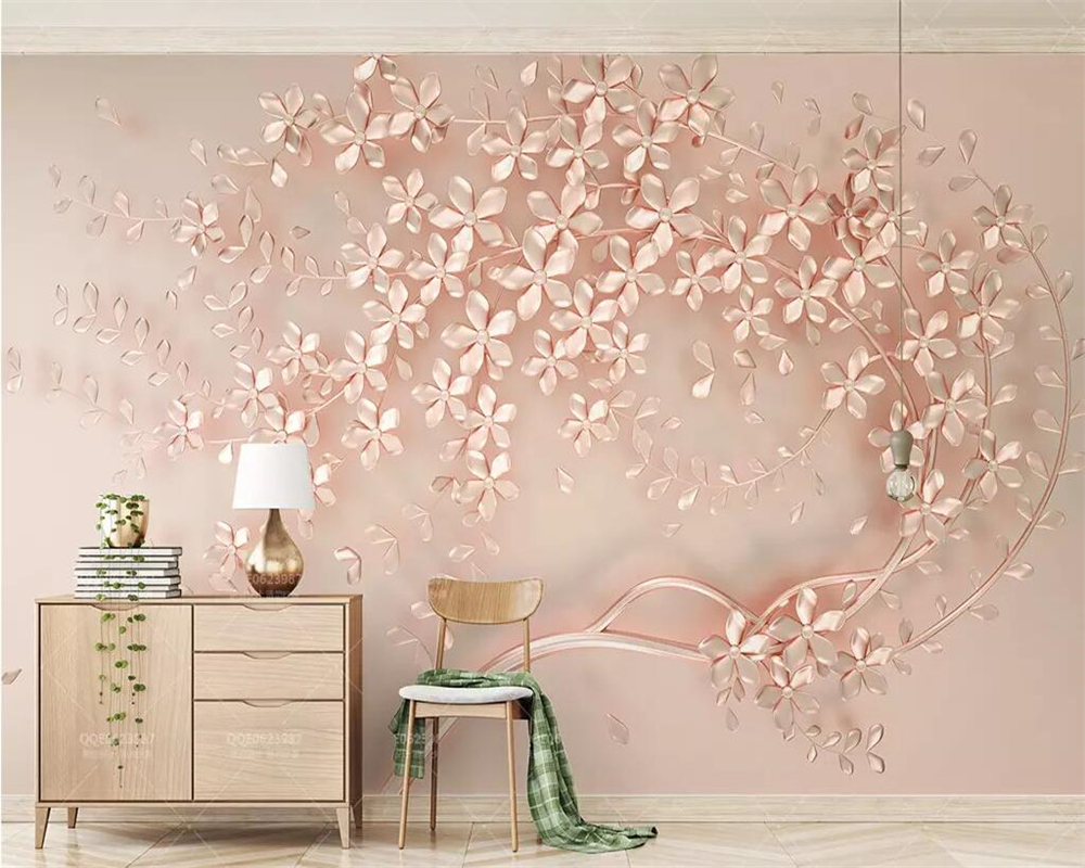 Us 8 85 41 Off Beibehang Custom Wallpaper Rose Gold Flower Luxury Elegant 3d Stereo Tv Background Wall Painting Home Decoration 3d Wallpaper In