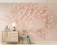 beibehang Custom wallpaper rose gold flower luxury elegant 3d stereo TV background wall painting home decoration