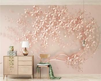 beibehang Custom wallpaper rose gold flower luxury elegant 3d stereo TV background wall painting home decoration 3d wallpaper цена 2017