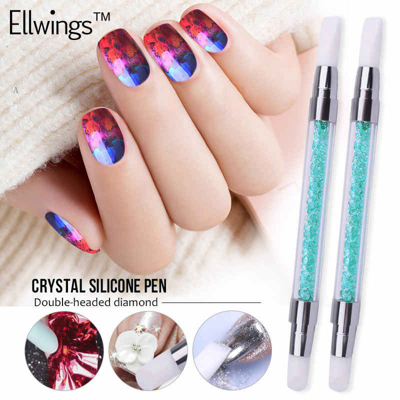 Ellwings cristal Silicone stylo Double tête diamant ongles brosse Nair Art pointage acrylique transfert autocollant manucure outils