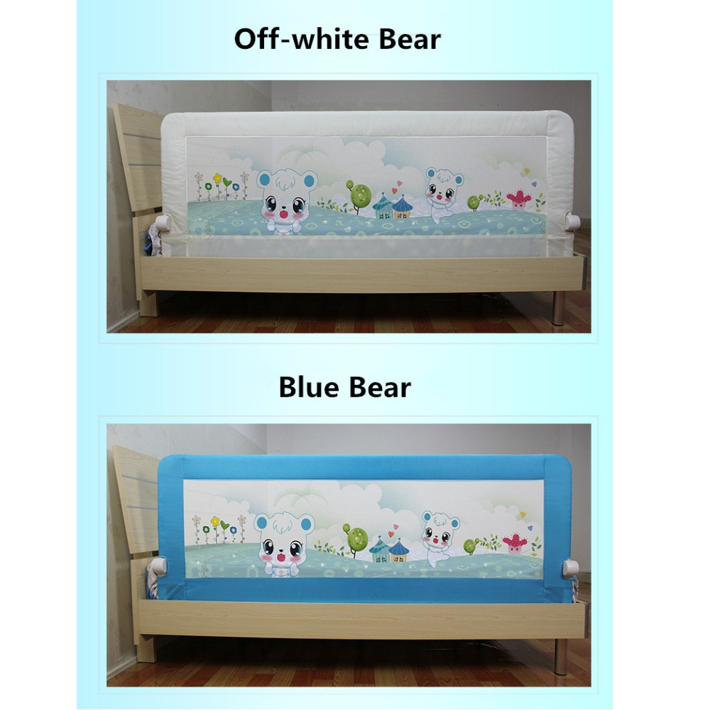 Crib Rail 180 x 68 cm White Folding Bed Rail for Childs Bed