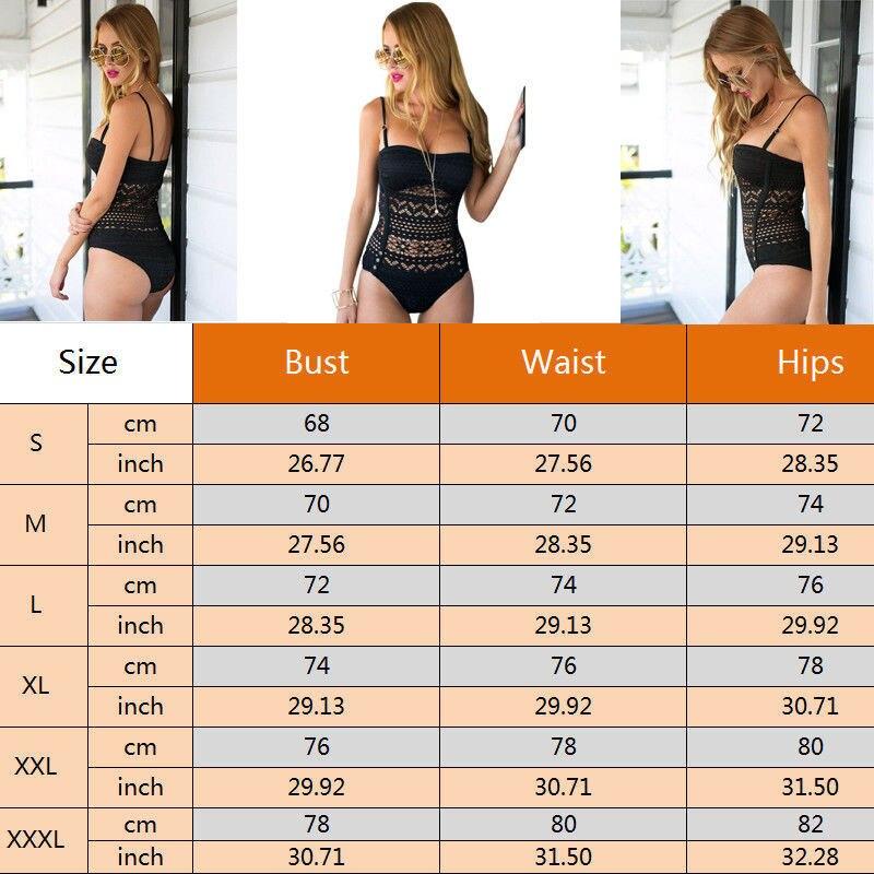 3XL Plus Size Bikini Women Sexy One Piece Swimsuit Hollow Out Lace Crochet Swimwear Monokini Bathing Suit Beachwear in Body Suits from Sports Entertainment