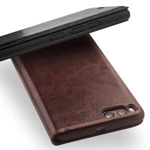 Image 2 - Capa carteira flip de couro genuíno qialino, proteção estilo carteira para xiaomi mi 6, mi6 saco do telefone da ranhura
