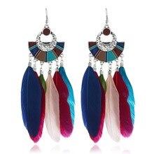 Ethnic Boho Earrings Soild Color Feather Tassel Drop Earrings Bohemia For Women Long Jewelry Brincos цена