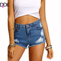 Summer New Style 2016 Latest Womens Blue Mid Waist Dual Pockets Button Fly Casual Frayed Ripped Denim Skinny Shorts