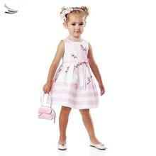 Girl Cute Dress Kids Clothing Baby Children Fashion Bubble Print Stripe White Vestidos Princess O-Neck