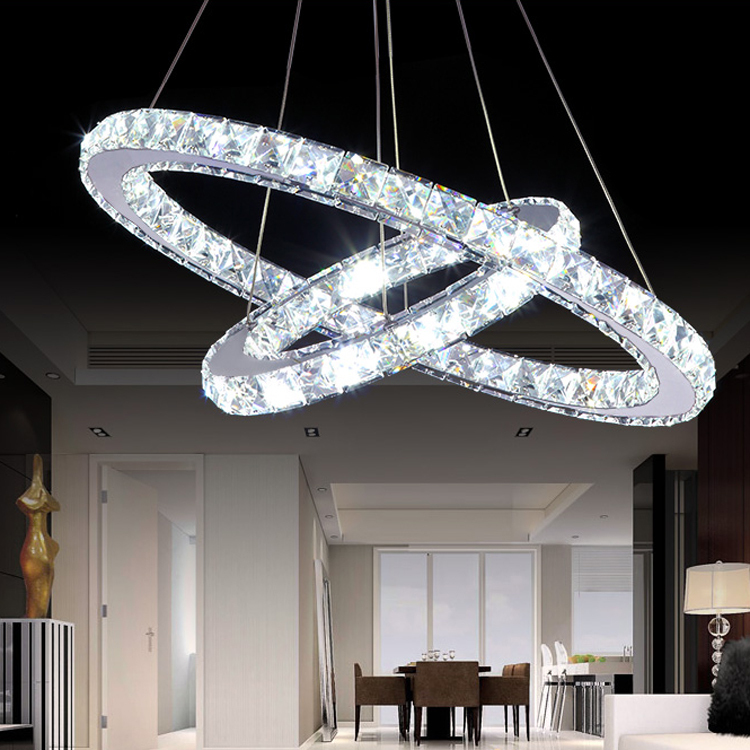 30w luxury modern crystal led pendant with unique two rings dining