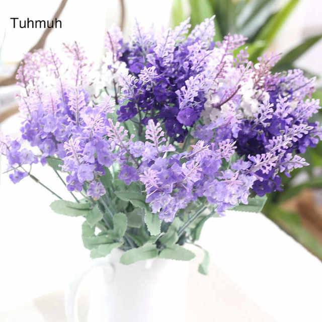 Aliexpress buy 10 heads artificial lavender silk flowers 10 heads artificial lavender silk flowers bouquets wedding home party fake flower decoration 3 colors wholesale mightylinksfo