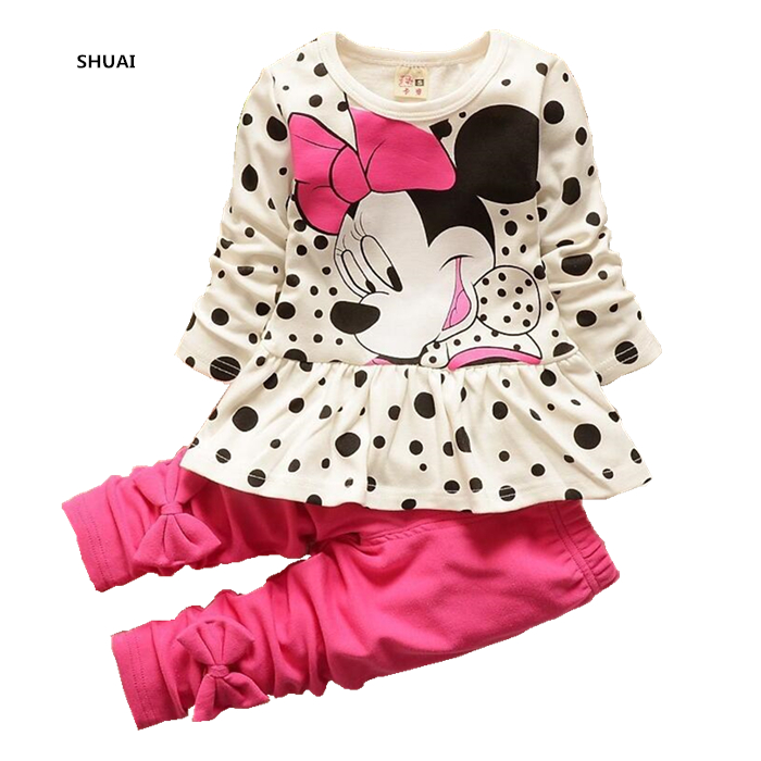 New Minnie Baby Girls Clothing Sets Kids Autumn Character Cotton Long Sleeve Shirt + Pants 2 Piece Children Clothing Set new baby girls hello kitty clothing sets kids autumn character cotton long sleeve shirt pants 2 piece children clothing set