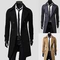 Мужская Мода Двубортный Краткости Пыли Пальто Вскользь Уменьшают Подходящую Долго Верхней Одежды Новое Прибытие