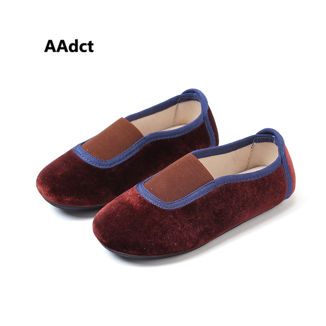 AAdct 2019 Autumn New Velvet Princess Flats Baby shoes Loafers little girls High quality Soft little kids shoes for children