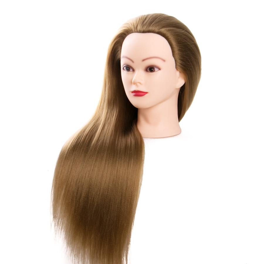 blone hair training head 68 cm blonde hairdressing dolls head female mannequins girl practice braiding synthetic fiber hair