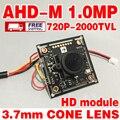 """Реальные 2000tvl adhm 720 P 1/4 """"CMOS hd Закончил Monito Мини камера чип модуль 3.7 мм острый конус объектив кабель видеонаблюдения"""