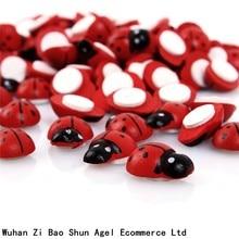 100Pcs Painted Ladybug Self-Adhesive Wood Craft Scrapbooking Decoration 19x13mm