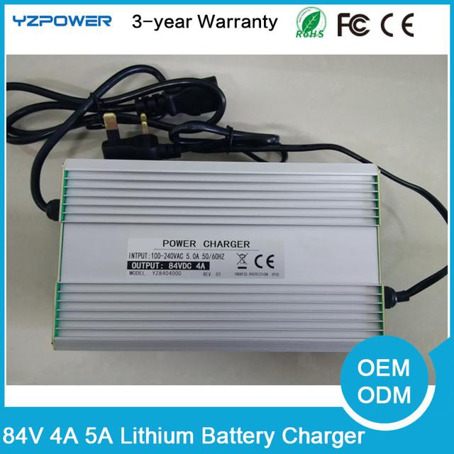 Aluminio 84 V 4A 5A Cargador de Batería de Litio para 20 S 72 V Lipo e-bici Triciclo Li-ion Incorporada ventilador