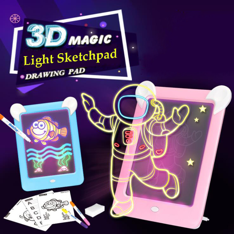 Drawing Handwriting Pad 3D Magic Drawing Pad LED Writing Board Luminous Drawing Board Children's Puzzle Brain Development Toy