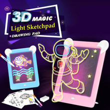 Drawing Handwriting Pad 3D Magic Drawing Pad LED Writing Board Luminous Drawing Board Children's Puzzle Brain Development Toy(China)