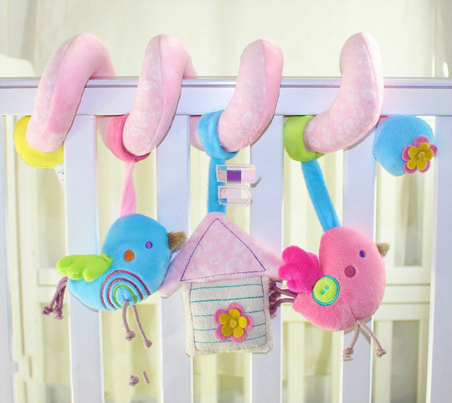 Infants and young children educational toys lathe hang 1 to 24 months Birds around the toy with a bell electronic music bed bird
