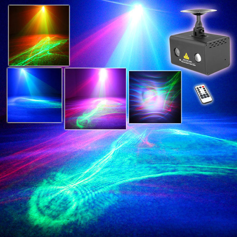 RGB LED Party Disco Dance Atmosphere Lights Laser Projector Red Green Watermark Wave Effect DJ Light With Remote