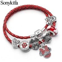 Sonykifa Fashion Jewelry Mickey Minnie Leather Pandoro Bracelet For Women Charm Bracelets Handmade Pulseras Dropshipping
