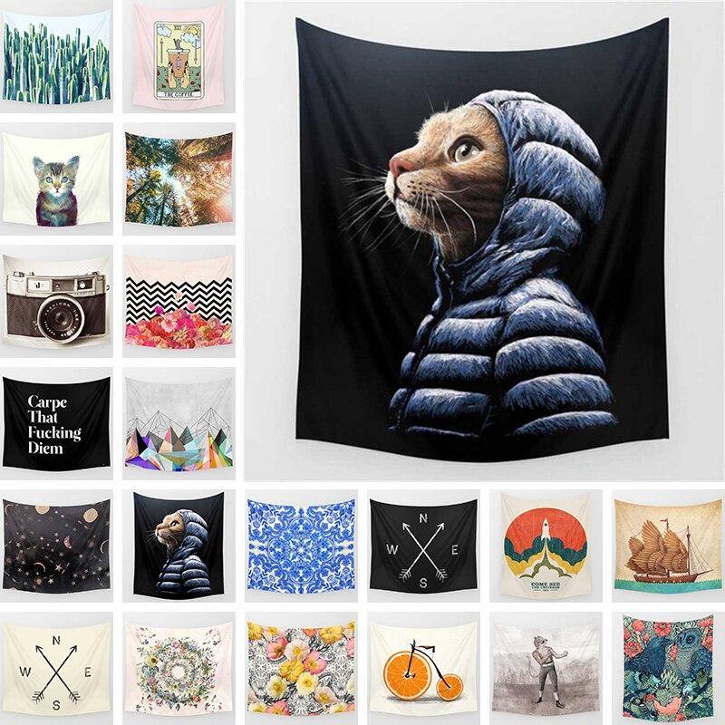Tapisserie imprimé chat décor à la maison tenture murale artisanat populaire tenture murale couverture de lit couverture nappe Yoga tapis cadeaux