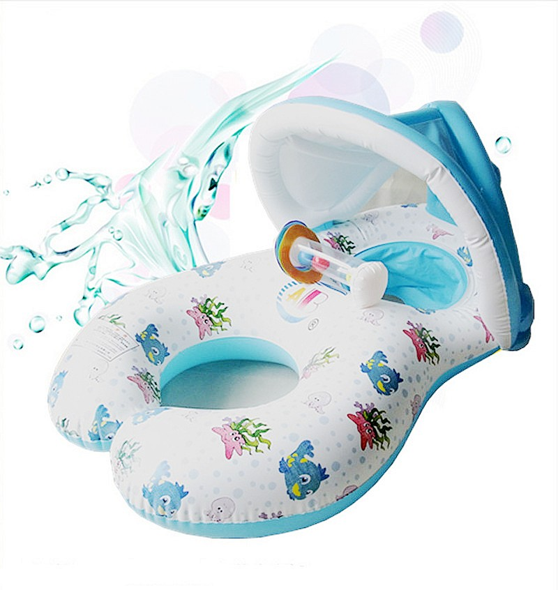 PVC Baby Swim Ring Sun Protection Inflatable Ring 0 3 yrs Mother Baby Double Pool Swim
