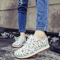 Nueva llegada de 2 colores zapatos de lona florales mujeres de la moda otoño laides planos ocasionales planos de las mujeres zapatos para caminar al aire libre