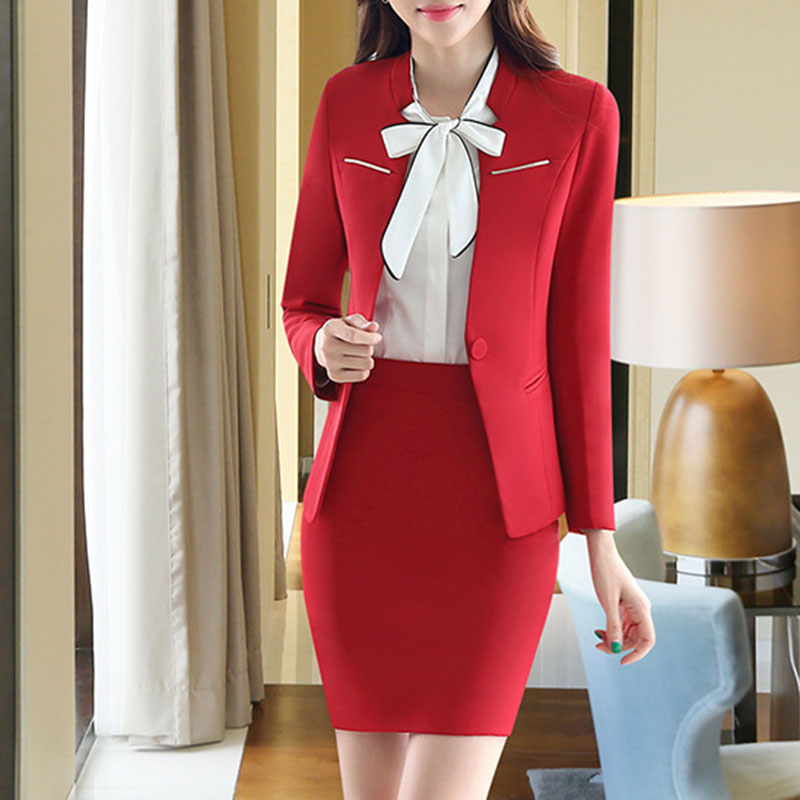 2017 Plus Size Sexy Work Business Skirt Suits Set Blazers Office Casual Formal Women OL Elegant V-neck Cut Out Blue Runway Suit
