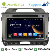 Quad Core 8″ HD 1024*600 2DIN Android 5.1.1 Car DVD Player Radio Screen FM DAB+ 3G/4G WIFI GPS Map For KIA SPORTAGE R 2010-2015