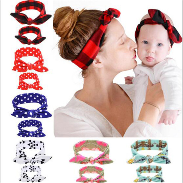 1 Set Mom Rabbit Ears band Tie Bow elastic Headband Hair Hoop Stretch Knot  Bow Cotton Headbands hair accessories 3f9bb20d343
