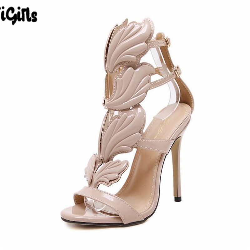 New Summer Women High Heels Gold Winged Leaves Cut-outs Stiletto Gladiator Sandals Flame Party High heel Sandal Shoes Woman phyanic 2017 gladiator sandals gold silver shoes woman summer platform wedges glitters creepers casual women shoes phy3323