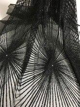 unique JIANXI.C 71106 glued glitter net lace fabric French net lace fabric with glued glitter decoration