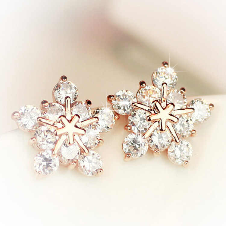 new Ladies Crystal Snowflake Bijoux Statement Stud Earrings For Women Gold Earring Fashion Jewelry Pendientes Mujer