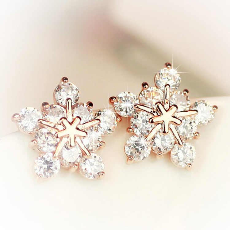 Crystal Earrings Cute Earrings Jewelry Gift Minimalist Jewelry Gold Snowflakes Stud Earrings Statement Earrings Gifts for Her