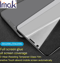 Imak capa de vidro temperado com cola, película protetora de vidro curvada, para asus zenfone 5 5z lite ze620kl zs620kl zc600kl 2.5d oleopóbico