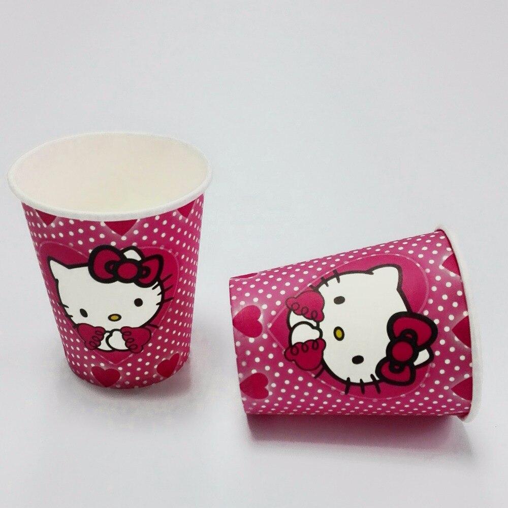 10 unids/set hello kitty taza fiesta temática de dibujos animados para niños/niñ