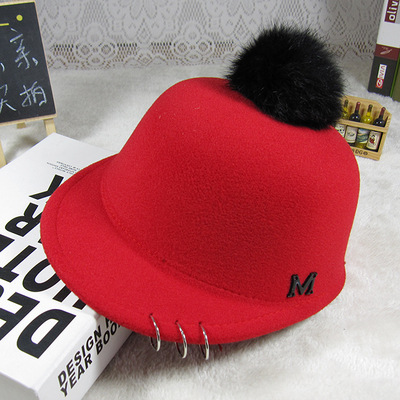 2016 new Child Equestrian hat autumn and winter rabbit fur ball cap big boy  and girl baby child woolen hat kids beanies caps-in Hats   Caps from Mother  ... 14c8b1cfd590