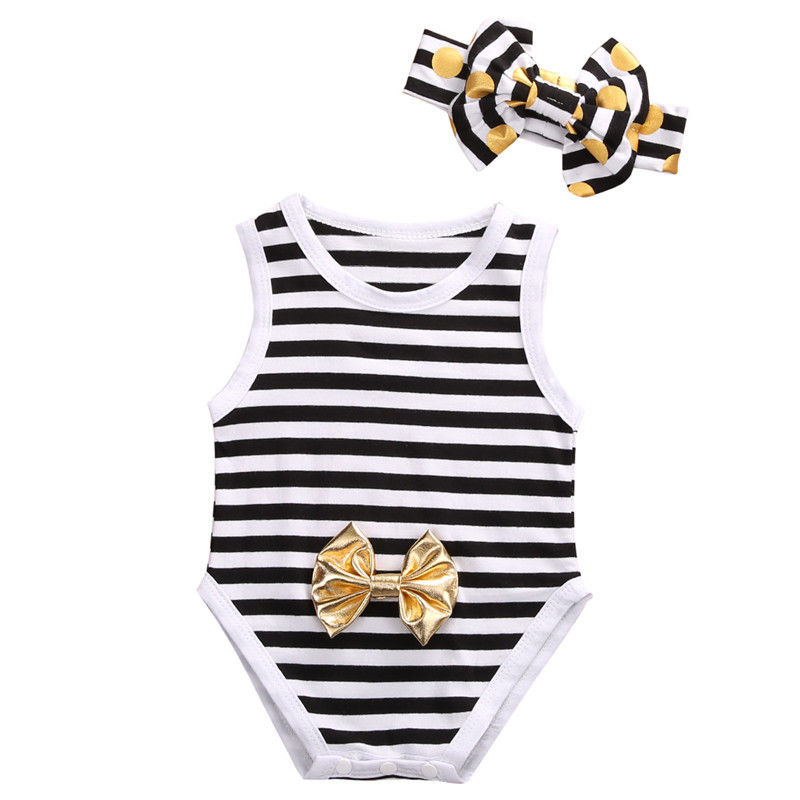 Rompers Baby Clothing Summer 2017 Newborn Toddler Baby Girls Striped White Black Romper O-Neck Jumpsuit Sunsuit Outfits Clothes baby rompers o neck 100