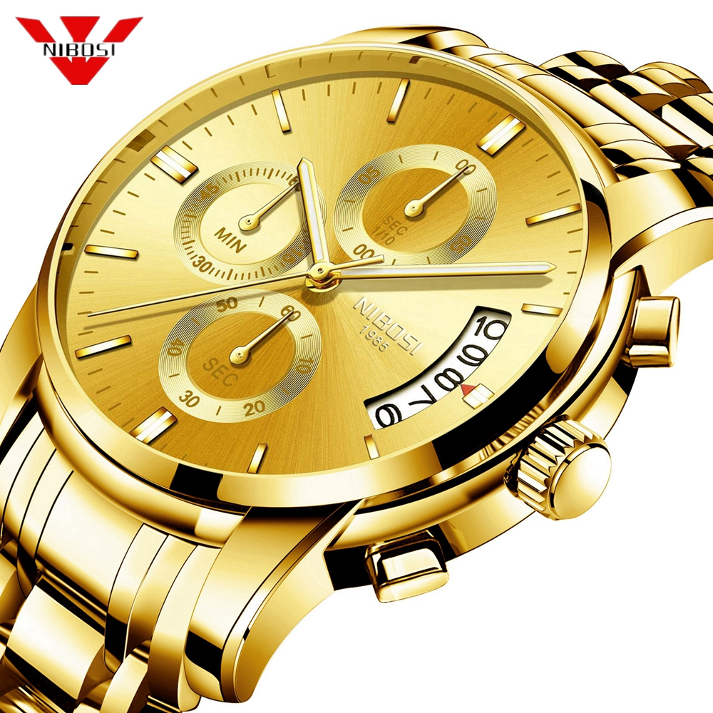 NIBOSI Gold Watch Chronograph Sport Watch Men Business Waterproof Quartz Watch Relogio Masculino Man Military Mens Watches Clock