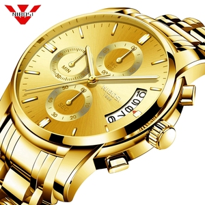 Image 1 - NIBOSI Gold Watch Chronograph Sport Watch Men Business Waterproof Quartz Watch Relogio Masculino Man Military Mens Watches Clock