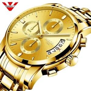 Image 1 - Часы наручные NIBOSI мужские с хронографом, спортивные деловые Кварцевые водонепроницаемые в стиле милитари, золотистые