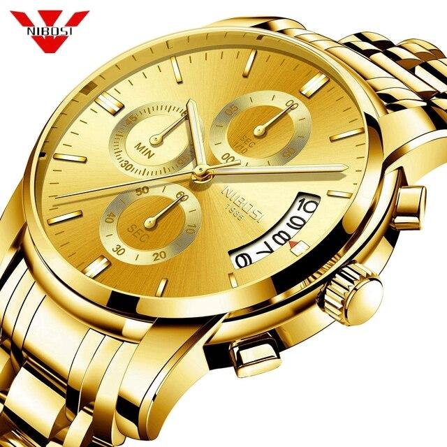 Часы наручные NIBOSI мужские с хронографом, спортивные деловые Кварцевые водонепроницаемые в стиле милитари, золотистые
