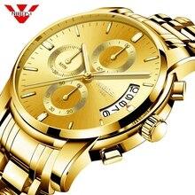 Nibosi relógio de ouro cronógrafo relógio do esporte dos homens negócios à prova dwaterproof água relógio de quartzo relogio masculino homem militar dos relógios