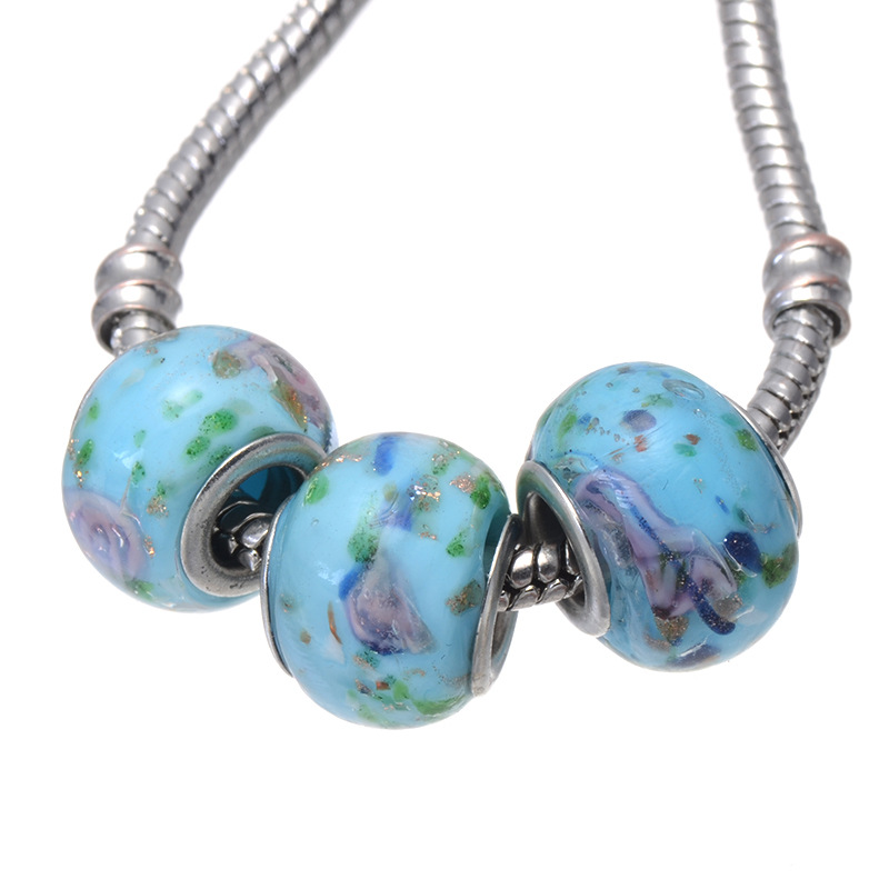 BISAER 2016 New Collection Silver Plated Accessories DIY Blue Murano Glass Flower Charm Fit Pandora Bracelet Jewelry Making