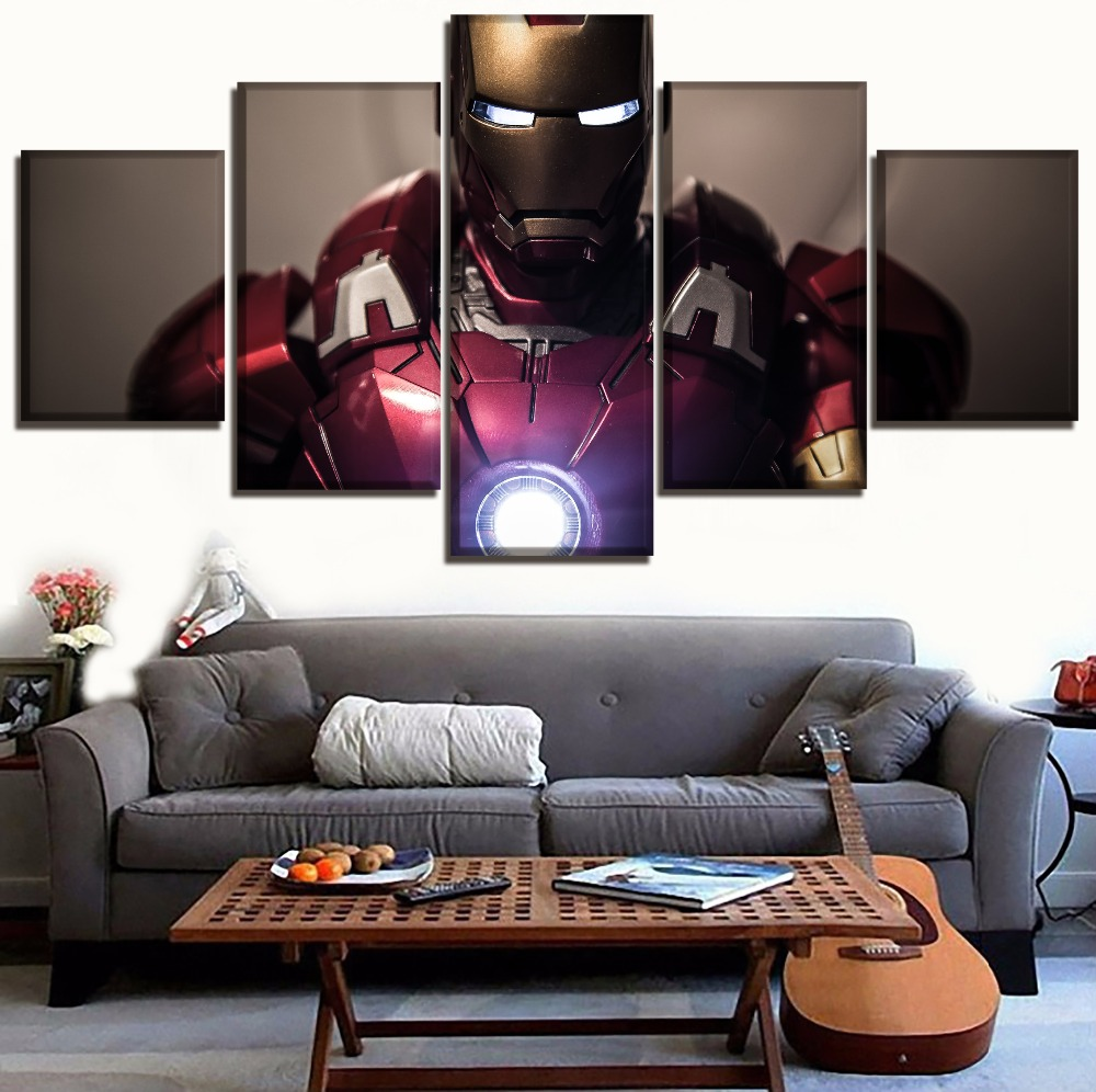 home-decoration-paintings-on-canvas-framework-modular-picture-5-panel-movie-the-font-b-avengers-b-font-iron-man-posters-and-prints-on-the-wall